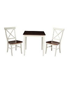 International Concepts 30X30 Dining Table With 2 X-Back Chairs