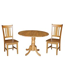 "42"" Dual Drop Leaf Table With 2 San Remo Chairs"
