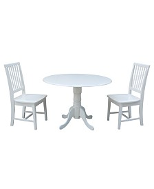 """International Concepts 42"""" Dual Drop Leaf Table With 2 Mission Chairs"""