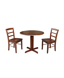 "36"" Dual Drop Leaf Table With 2 X-Back Chairs"