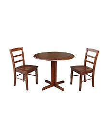 """International Concepts 36"""" Dual Drop Leaf Table With 2 X-Back Chairs"""