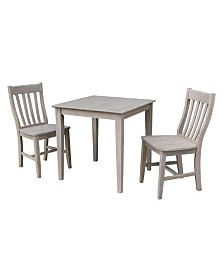 International Concepts 30X30 Dining Table With 2 Cafe Chairs