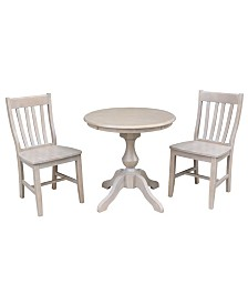 """International Concepts 30"""" Round Top Pedestal Table- With 2 Cafe Chairs"""
