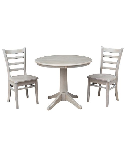 """WHITEWOOD INDUSTRIES/INTNL CONCEPTS International Concepts 36"""" Round Top Pedestal Table - With 2 Emily Chairs"""