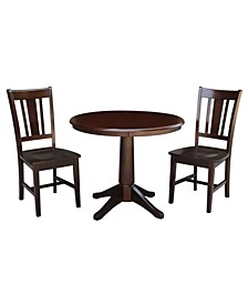"""36"""" Round Top Pedestal Table - With 2 San Remo Chairs"""
