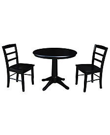 "International Concepts 36"" Round Top Pedestal Table - With 2 Madrid Chairs"