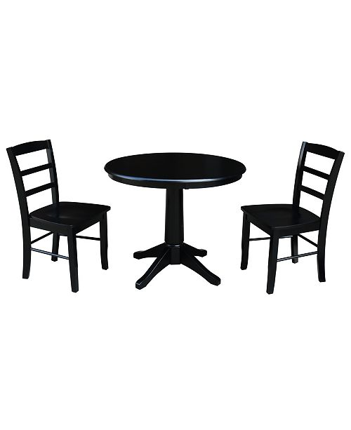 "WHITEWOOD INDUSTRIES/INTNL CONCEPTS International Concepts 36"" Round Top Pedestal Table - With 2 Madrid Chairs"
