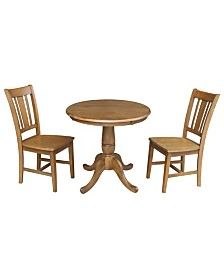 "International Concepts 30"" Round Pedestalestal Dining Table With 2 Chairs"