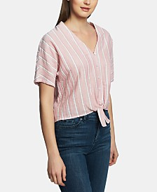 1.STATE Cotton Striped Tie-Hem Top