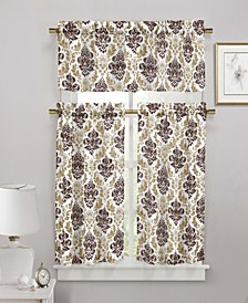 Melbourne 3-Piece Damask Kitchen Curtain Set