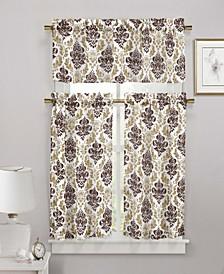 Melbourne 3-Piece Damask Kitchen Curtain Set