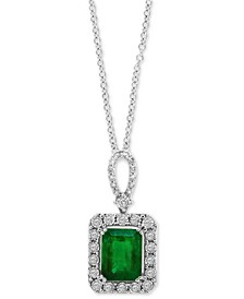 "EFFY® Emerald (2-1/5 ct. t.w.) & Diamond (1/4 ct. t.w.) 18"" Pendant Necklace in 14k White Gold (Also Available in 14k Yellow Gold)"