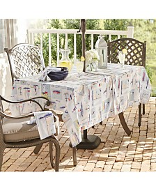 "Elrene Sail Away Stain Resistant Indoor Outdoor 60"" X 84"" Umbrella Tablecloth"