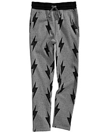 Little Boys Lightning Bolt Fleece Sweatpants, Created for Macy's