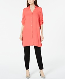 Alfani Petite Button-Front Tunic, Created for Macy's