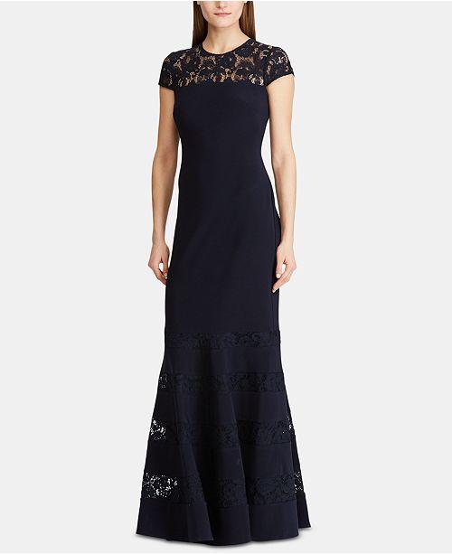 Lauren Ralph Lauren Lace-Panel Gown