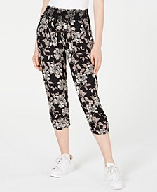 Juniors' Smocked Cropped Jogger Pants