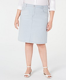 Plus Size Railroad-Striped Denim Skirt, Created for Macy's