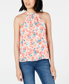 Maison Jules Printed Tie-Neck Top, Created for Macy's