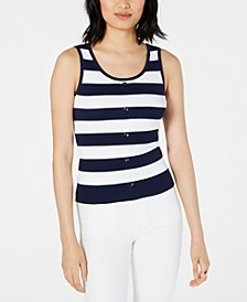 Ribbed Button-Front Tank Top, Created for Macy's
