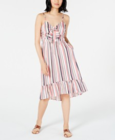 Maison Jules Striped Ruffle-Hem Dress, Created for Macy's
