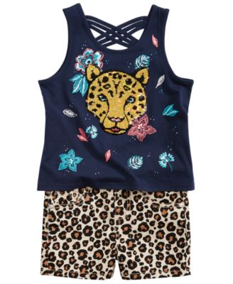 Toddler Girls Leopard-Print Denim Shorts, Created for Macy's