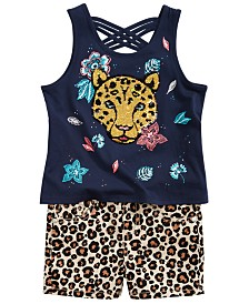 Epic Threads Little Girls Jaguar Sequin Tank Top & Leopard-Print Shorts Separates, Created for Macy's