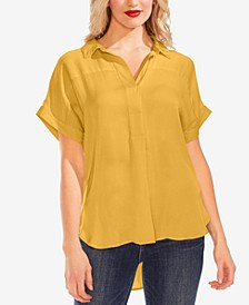 Collared Henley Rumple Blouse