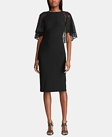 Lace Cape Overlay Jersey Dress