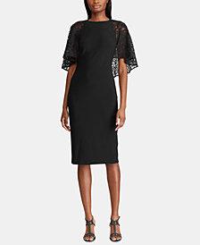 Lauren Ralph Lauren Lace Cape Overlay Jersey Dress