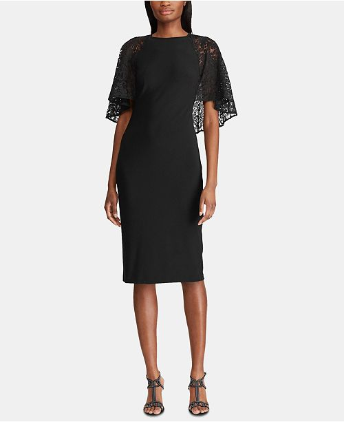 Lauren Ralph Lauren Lace Cape Overlay Jersey Dress