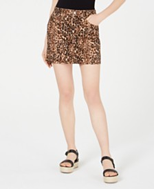 Dollhouse Juniors' Animal-Print Mini Skirt