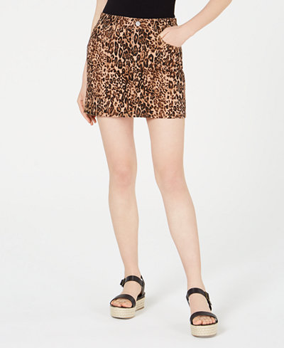 Dollhouse Juniors' Animal-Print Mini Skirt