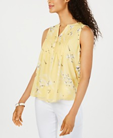 Charter Club Sleeveless Printed Pintuck Blouse, Created for Macy's