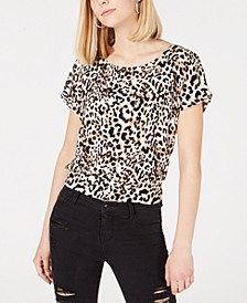 Juniors' Animal-Print Tie-Back Top