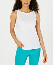 Charter Club Petite Cotton Boat-Neck Top, Created for Macy's