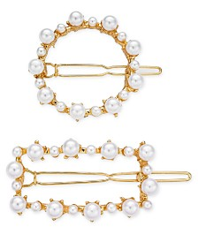 I.N.C. 2-Pc. Gold-Tone Imitation Pearl Hair Clip Set, Created for Macy's