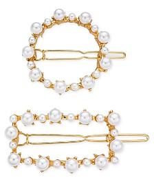 I.N.C. 2-Pc. Gold-Tone Imitation Pearl Hair Clip Set, Created for Macy's