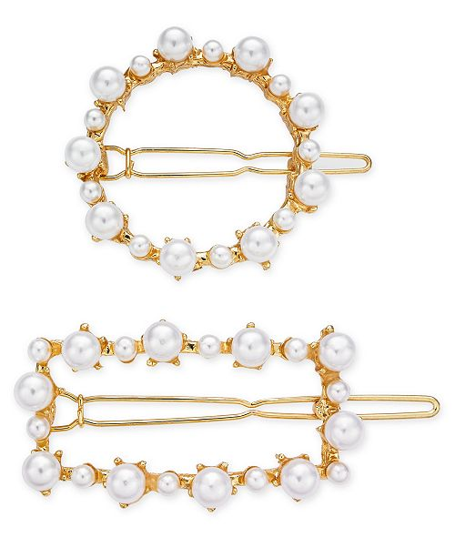 INC International Concepts INC 2-Pc. Gold-Tone Imitation Pearl Hair Clip Set, Created for Macy's