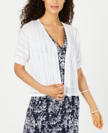 Charter Club Pointelle-Pattern Open-Front Cardigan, Created for Macy's