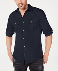 I.N.C. Men's Piped Grid-Pattern Shirt, Created for Macy's