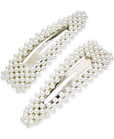 I.N.C. 2-Pc. Silver-Tone Imitation Pearl Hair Barrette Set, Created for Macy's