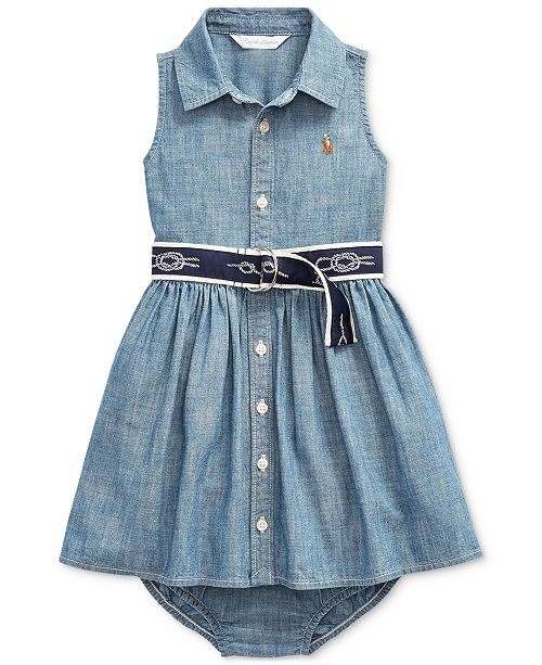 Polo Ralph Lauren Baby Girls Belted Dress & Bloomer