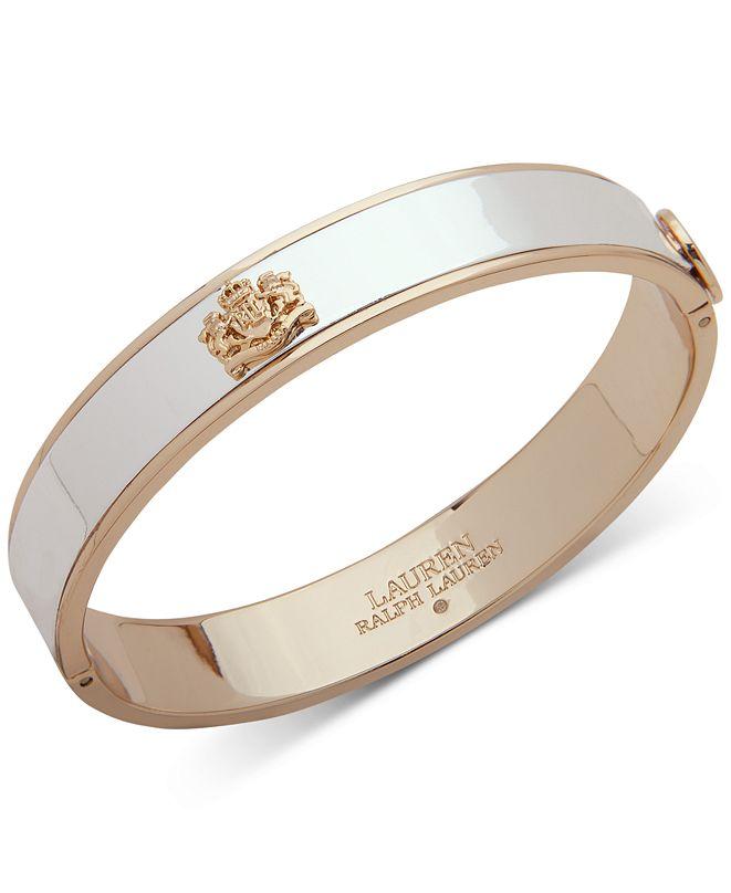 Lauren Ralph Lauren Two-Tone Crest Bangle Bracelet