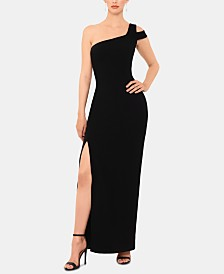 Betsy & Adam One-Shoulder High-Slit Gown