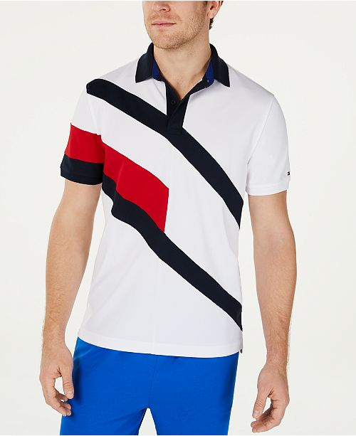 Tommy Hilfiger Men's Danes Custom-Fit Moisture-Wicking Colorblocked Polo Shirt