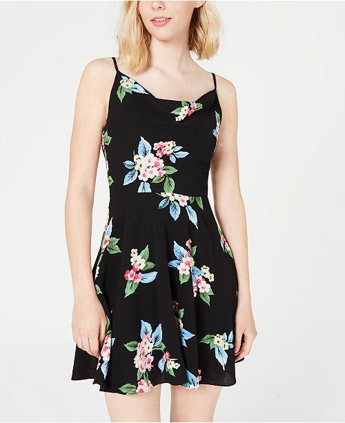 B Darlin Juniors' Floral Cowlneck Dress