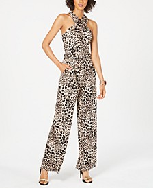 Animal-Print Halter Jumpsuit