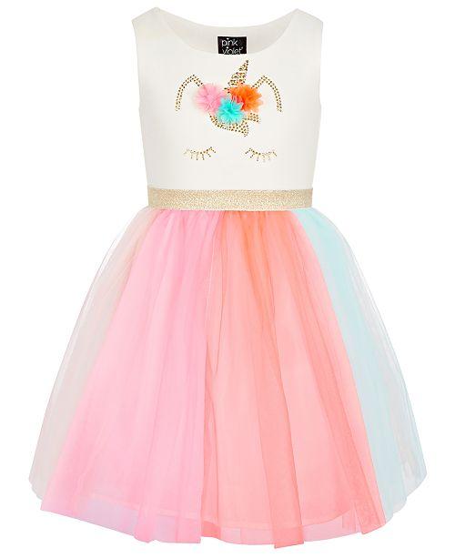Pink & Violet Little Girls Rainbow Skirt Dress