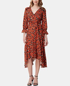 Tahari ASL Animal-Print Faux-Wrap Georgette Midi Dress